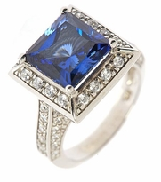 Astra 5.5 Carat Princess Cut Man Made Sapphire Gemstone Pave Cubic Zirconia Halo Solitaire Engagement Ring