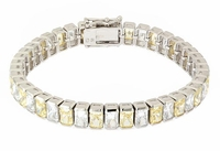 Bazello .75 Carat Each Bezel Set Emerald Radiant Cut Bracelet