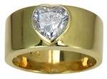 Bezel Heart Band Solitaire Ring by Ziamond