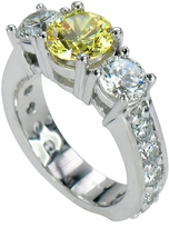 Blanca 1.5 Carat Round Cubic Zirconia Pave Three Stone Solitaire Engagement Ring