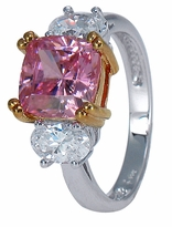 Calixta 2.5 Carat Pink Cushion Cut Cubic Zirconia Oval Three Stone Rose Gold Engagement Ring