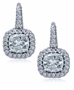 Calypso 1 Carat Each Cushion Cut Pave Halo Twisted Rope Leverback Earrings