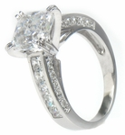 Caserta Split Prong Asscher Cut Cubic Zirconia Cathedral Princess Cut Solitaire Engagement Ring