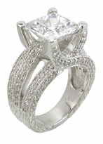 Cassis 4 Carat Princess Cut Cubic Zirconia Pave Solitaire Engagement Ring