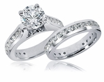 Castalia Cathedral Prong Set Round Cubic Zirconia Channel Set Wedding Set