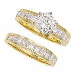 Channel Set Princess Cut Cubic Zirconia 1.5 Carat Round Bridal Set