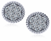 Chantel Twisted Rope Pave Cluster Cubic Zirconia Earrings