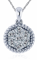 Chantel Twisted Rope Pave Cluster Cubic Zirconia Pendant