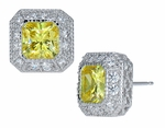 Chaumont 1.5 Carat Princess Cut Bezel Set Cubic Zirconia Pave Halo Earrings