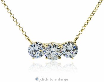 Classic Three Stone Round Horizontal Anniversary Necklace