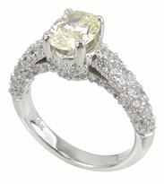Correlli 1 Carat Oval Canary Cubic Zirconia Cathedral Pave Encrusted Solitaire Engagement Ring