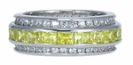Courtier Channel Set Princess Cut Canary and Round Cubic Zirconia Eternity Band