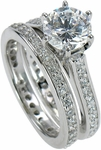 Cusana 1.5 Carat Round Cubic Zirconia Cathedral Pave Eternity Bridal Set with Contoured Band