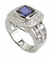Cushion Bezel 2.5 Carat Man Made Sapphire Gemstone Double Row Channel Set Cubic Zirconia Halo Ring