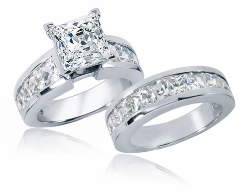 ... Carat Princess Cut Channel Set Cubic Zirconia Bridal Wedding Set