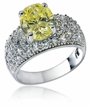 Dynasty Oval Cubic Zirconia Pave Domed Solitaire Ring