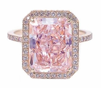 Elegant Emerald Cut Cubic Zirconia Halo Pave Cathedral Solitaire Engagement Ring Series