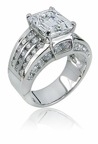 Ellise 4 Carat Emerald Cut Cubic Zirconia Channel Solitaire Engagement Ring