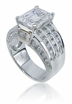 Ellise Emerald Cut Channel Set CZ Solitaire Ring