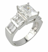 Embella 2.5 Carat Emerald Radiant Cut Cubic Zirconia Baguette and Princess Cut Engagement Ring