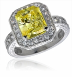 Genova 4 Carat Emerald Radiant Cut Cubic Zirconia Pave Halo Engraved Solitaire