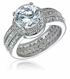 Fortunato Round Cubic Zirconia Halo Eternity Band Micro Pave Solitaire Ring