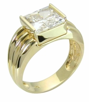 Franca 2.5 Carat Channel Set Princess Cut Cubic Zirconia Domed Fluted Engagement Ring