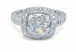 Gervase Cushion Cut Halo Cubic Zirconia Engagement Ring