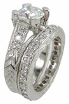 Gweneth 2 Carat Round Cubic Zirconia Pave Engraved Milgrain Wedding Set with Contoured Band