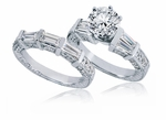 Harmonia 2 Carat Round Cubic Zirconia Double Baguette Pave Engraved Wedding Set