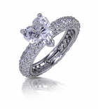 Harmony 2 Carat Cubic Zirconia Heart Micro Pave Eternity Solitaire Engagement Ring