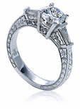 Hawthorne Antique Style Engraved 1 Carat Round with Baguettes Solitaire