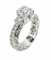 Heaven Three Stone 1.5 Carat Round Cubic Zirconia Eternity Solitaire Engagement Ring