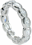Horizontal Oval Semi Bezel Set Cubic Zirconia Eternity Band