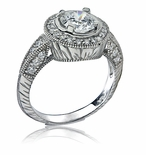 Imperiale Round Cubic Zirconia Antique Style Engraved Halo Engagement Ring