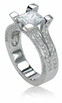 Kendall 1.5 Carat Princess Cut Cubic Zirconia Pave Solitaire Engagement Ring