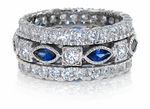 Kingdom Man Made Sapphire Marquise and Round Cubic Zirconia Eternity Band