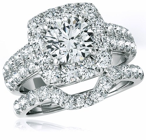 Kingston 1 5 Carat Round Cubic Zirconia Halo Bridal Wedding Set