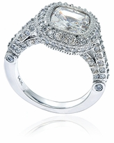 Legend 4 Carat Cushion Cut Cubic Zirconia Pave Halo Solitaire Engagement Ring