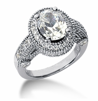 Legend Oval Cubic Zirconia Pave Halo Cathedral Solitaire Engagement Ring Series