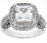 Legend Princess Cut Cubic Zirconia Pave Halo Cathedral Solitaire Engagement Ring Series