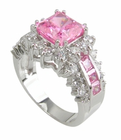 Louisa 1.5 Carat Pink Lab Created Princess Cut Halo Engagement Ring