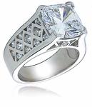 Lovell 7 Carat Cushion Cut Cubic Zirconia Cathedral Crisscross Solitaire Engagement Ring