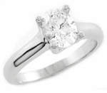 Luccia .75 Carat Oval Cubic Zirconia Trellis Style Criss Cross Prong Solitaire Engagement Ring