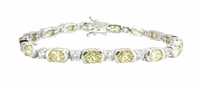Luna Alternating Round and Canary Oval Cubic Zirconia Bracelet