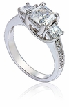 Maynard Three Stone Princess Cut Trellis Prong Pave Anniversary Ring