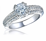Moderne Round Pave CZ Engagement Ring