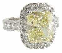 Montage 5.5 Carat Emerald Cut Canary Cubic Zirconia Pave Halo Engagement Ring