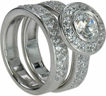 Montegue 1 Carat Round Bezel Set Halo Cubic Zirconia Wedding Set