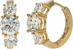 Nantucket Three Stone Anniversary CZ Hoop Earrings